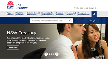 NSW Treasury website screenshot